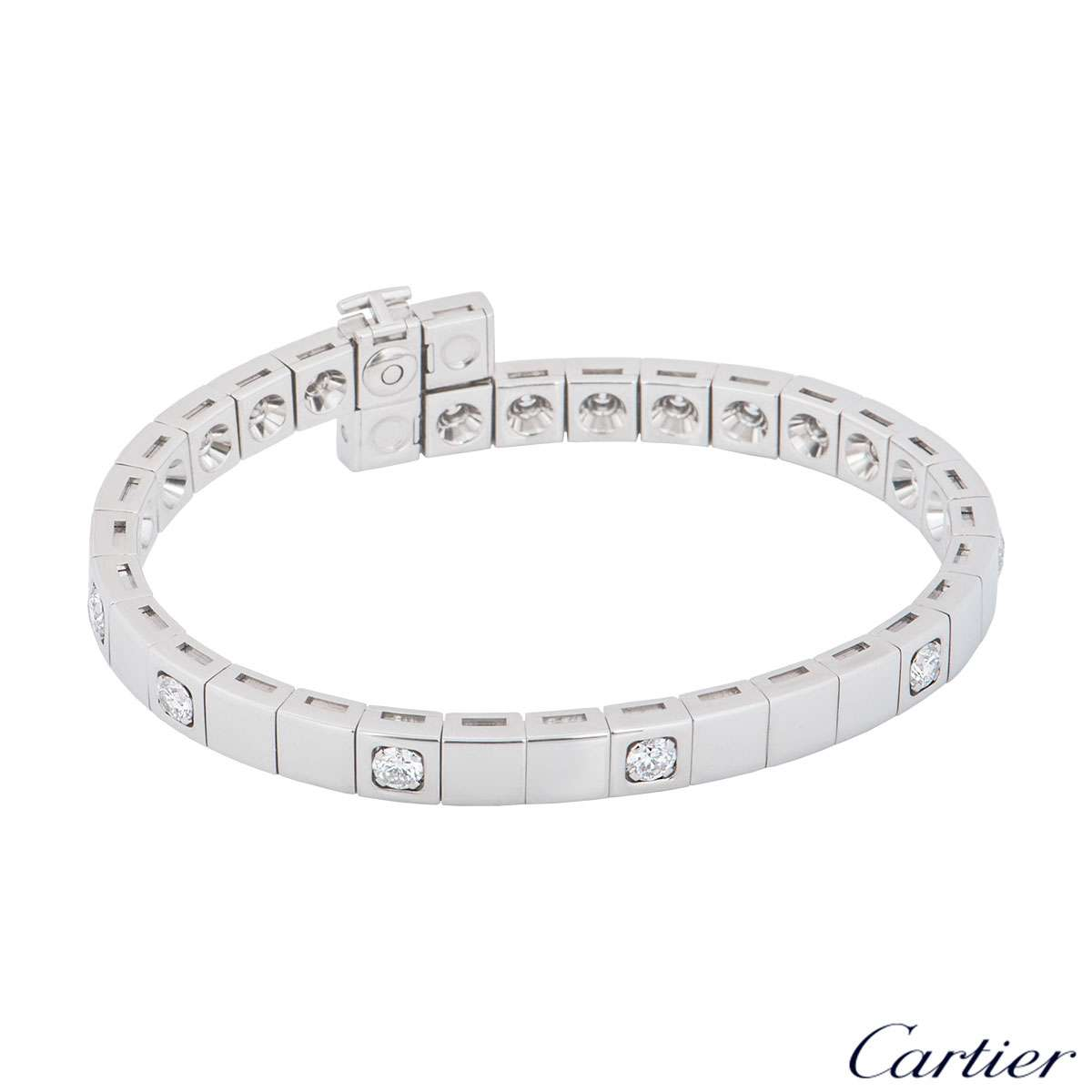 Cartier Tectonique Diamond White Gold Bracelet 3.15ct